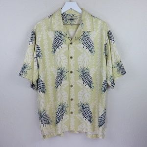 Tommy Bahama Silk Floral Pineapple Hawaiian Shirt